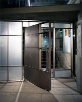 Exterior sliding glass doors - Prev Next Night View Of Front Entry And Custom Metal Door