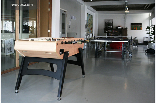 View of the football table and table tennis